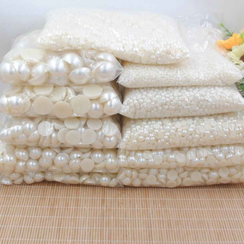3/4/5/6/8/10/12/14/16/18/20mm 20-1000pcs/Bag Ivory/White ABS Imitation Pearl Half Round Flatback For DIY Jewelry Findings Making