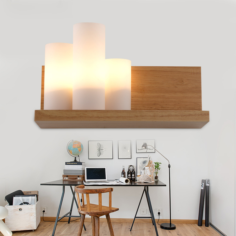 Bedside Wooden wall lamp wood+glass aisle wall Lights lighting For Living room Modern wall Sconce Lights aplique de la pared modern wooden led wall lamp bed room bedside natural solid wood white glass bedroom bedside aisle corridor entrance wall sconce