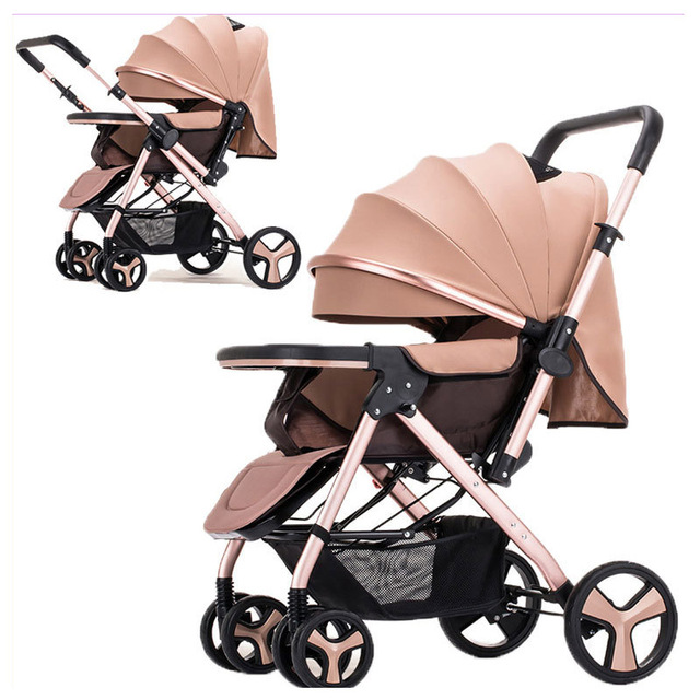 High View Reverse Handle Two-way Push Lightweight Baby Stroller Portable Folding Baby Stroller Travel System Car Pram Pushchair
