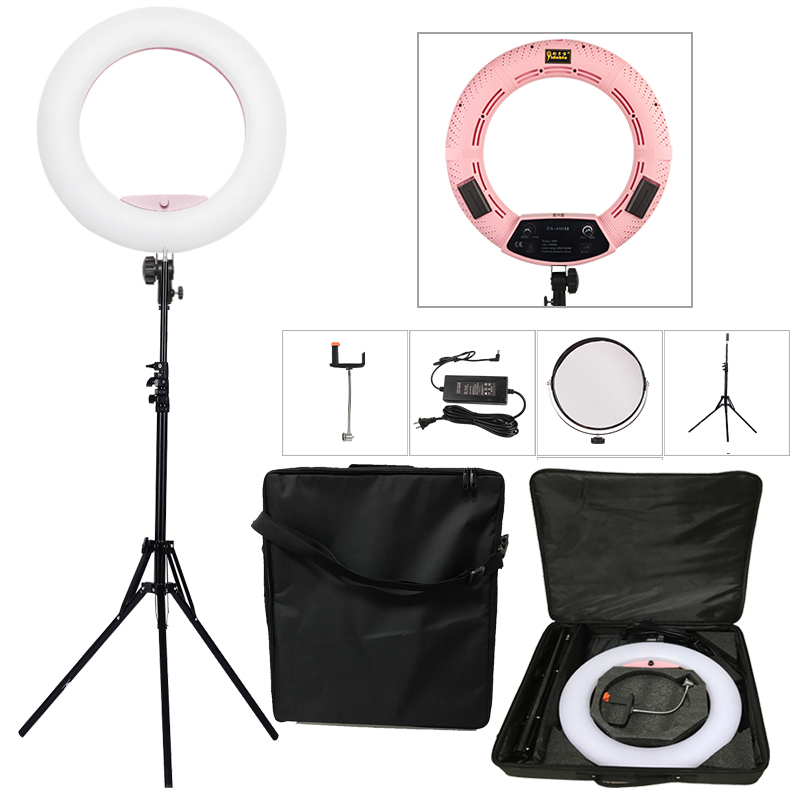 Yidoblo Pink FS-480II 5500K Dimmable Camera Photo/Studio/Phone/Video 1848W 480 LED Ring Light LED Lamp+ 2M tripod +Soft bag Kit