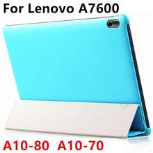 Case protector de la cubierta elegante de cuero de la pu para lenovo tab a10-70 Tablet PC Para Ideatab A10-80 A7600 10.1 pulgadas Protector de La Manga case