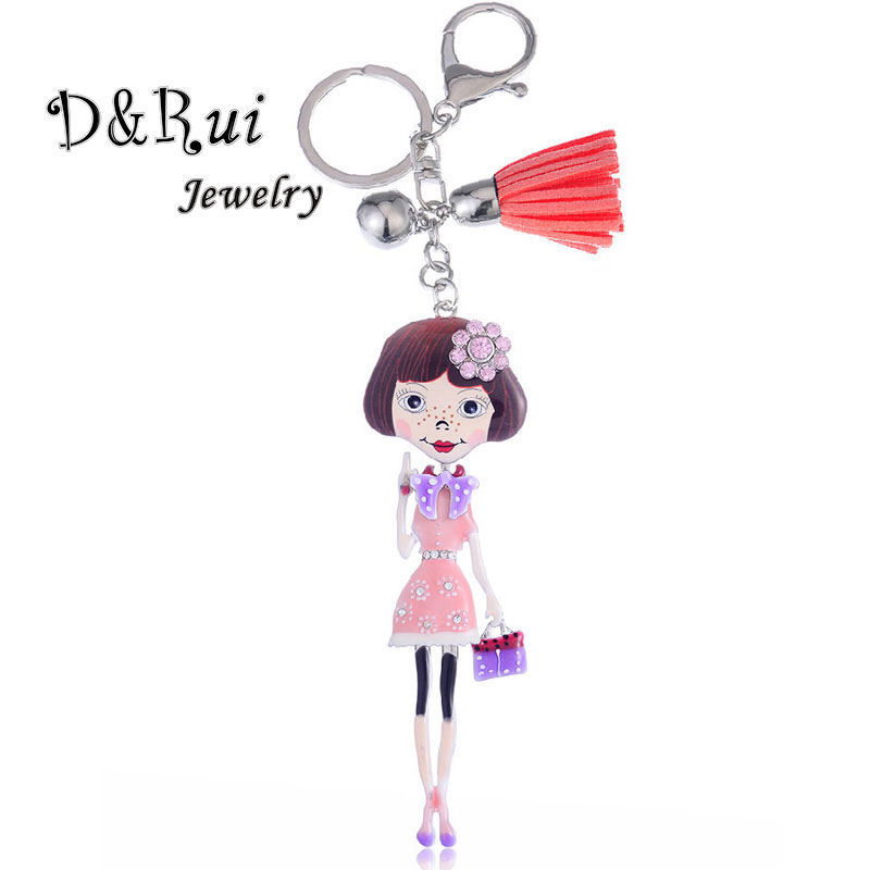 Cute Enamel Key Chain Alloy Doll Keychain Car Holder Jewelry Accessories For Girl Gift Charm Chains 2019 Hot Sale Brand