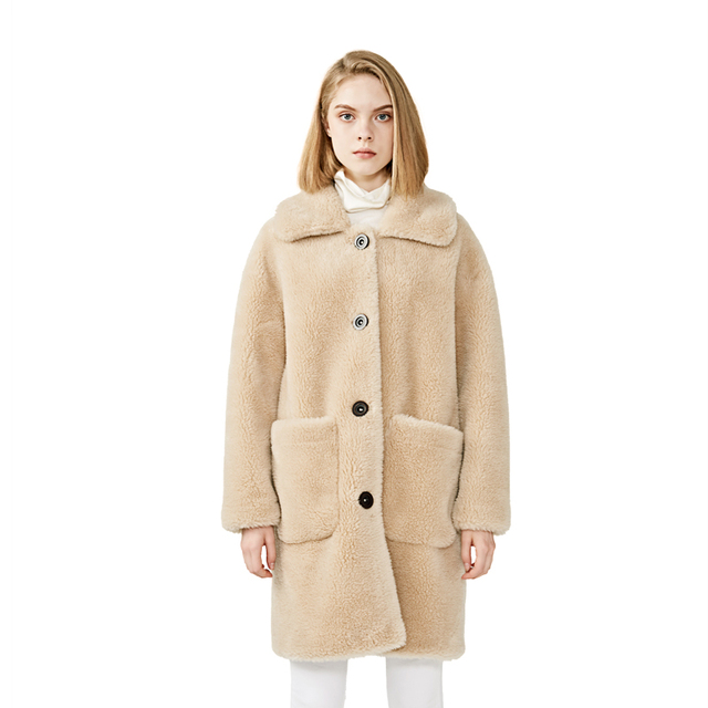 MAOMAOFUR 100% Real Sheep Fur Coat Women New Fashion Warm Thick Long Style Fur Outerwear Ladies Real Wool Coat