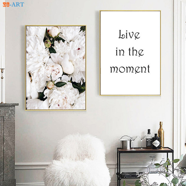 Framed Canvas Painting Floral Poster White Peonies Prints Quotes ...
