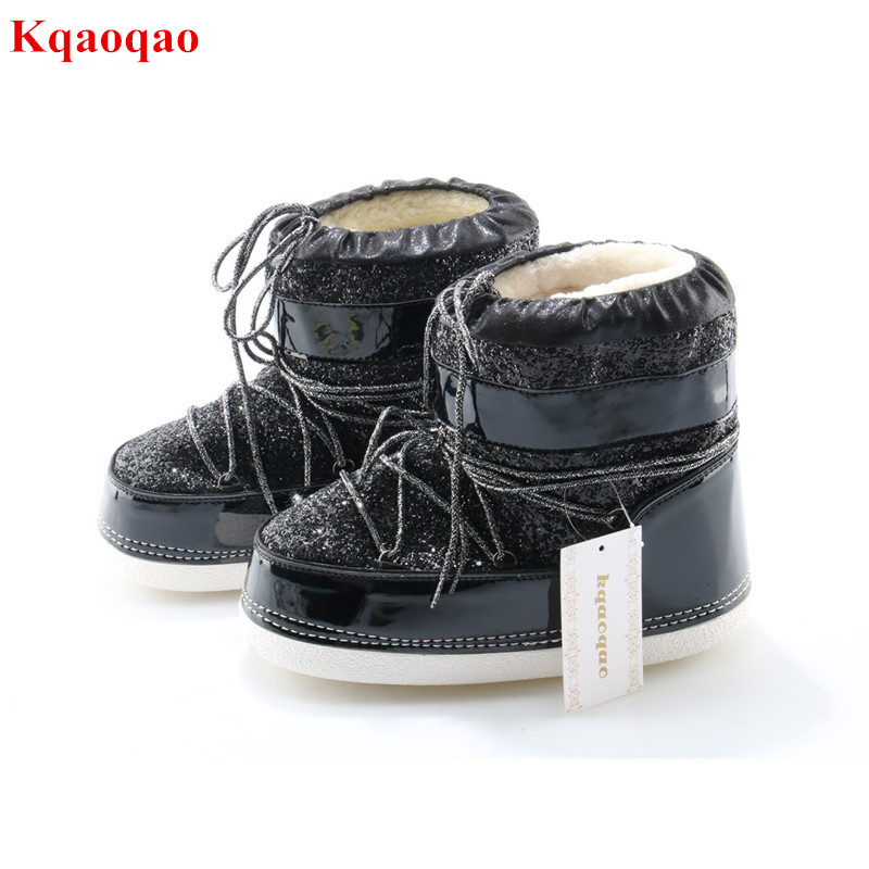 Sequined Cloth Round Toe Women Winter Outdoor Warm Snow Boots Casual Lace Up Plush Flat Botas Femeninas Bling Female Shoes winter woman boots lace up ladies flat ankle boot casual round toe women snow boots fashion warm plus cotton shoes st903