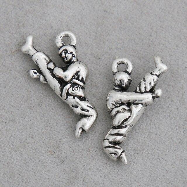 RAINXTAR Fashion Antique Silver Color Karate Kick Charms Alloy Martial Arts Charms 12*23mm 50pcs AAC1552