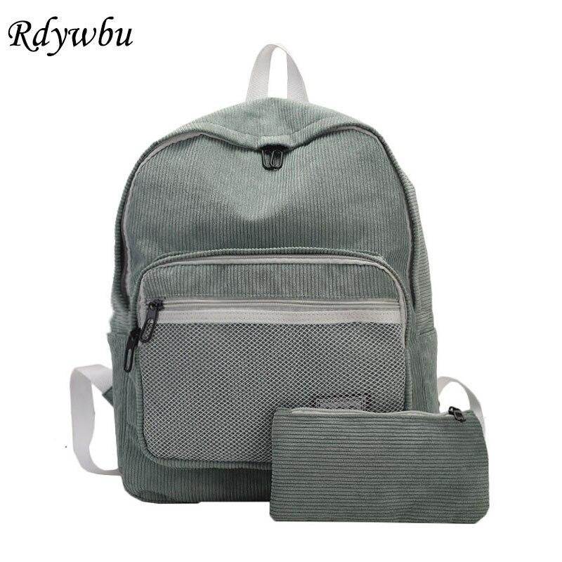 Rdywbu 2PCS Corduroy Striped Backpack Purse Set New Retro Girls Shcool Bag Big Travel Bag Solid Rucksacks Mochilas Escolar B341