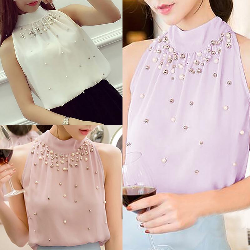 Summer Blouses Shirts Top Women Chiffon Blouse Bead Korean Sleeveless Halter Turtleneck Temperament Office Lady Elegant Shirt 6