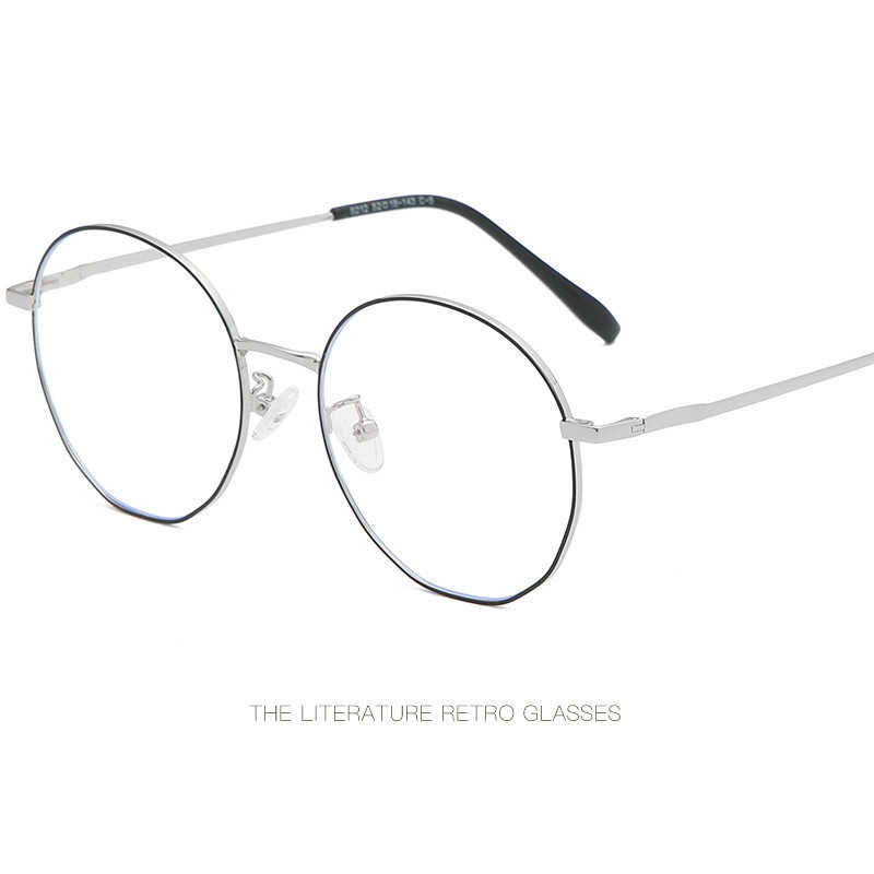 Anti-Blu-Ray Glasses Round Frame Retro Art Flat Mirror Men And Women With The Same Paragraph No Silver