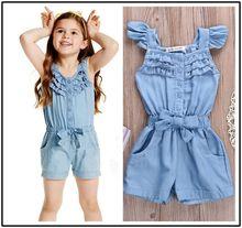 Дети малышей дети девочка одежда комбинезоны синий джинсовый промывают джинсы свободного покроя без рукавов с бантом комбинезон комбинезон одежда девушки