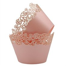 METABLE Cupcake Wrappers Pack of 50 Artistic Bake Cake Paper Cups Little Vine Lace Laser Cut Liner Baking Cup Muffin Case Trays