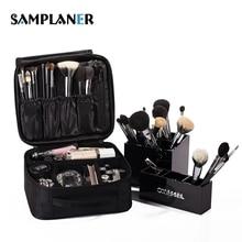 Фотография Samplaner Professional Cosmetic Bag Brush Penalty Beauty Case Zipper Black Organizer for Cosmetics Wash Travel Makeup Bags Women