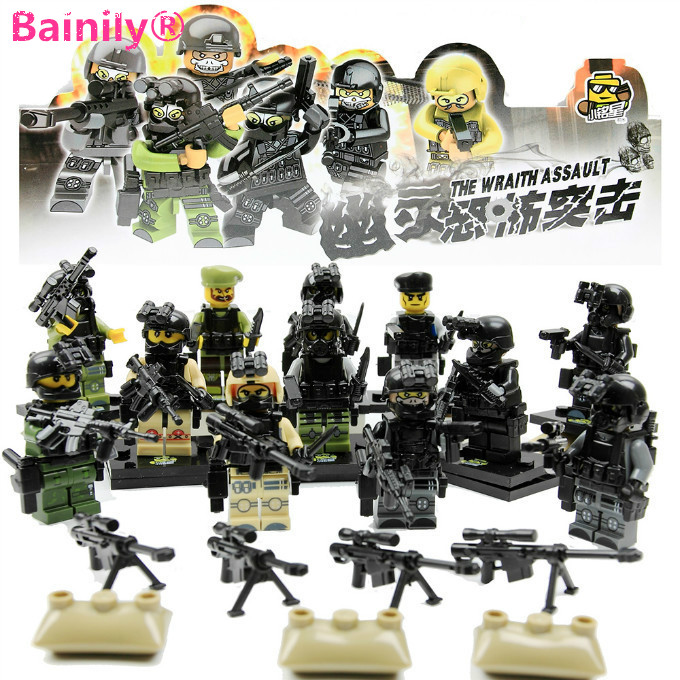 [Bainily]12pcs With Many Weapons World War Ghost Assault Military Soldier Compatible Legoe Weapon Model Building Block Bricks million generation 1 144 hgbc battle 006 weapons hg war up to weapons and equipment