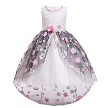 Vintage Princess Dress for Girls Photo Shoot High Low Hem Flower Belt Waist Ball Gown Dress Wedding Pageant Kids Dress for Girls
