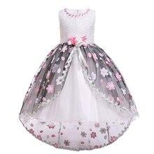 Vintage Princess Dress for Girls Photo Shoot High Low Hem Flower Belt Waist Ball Gown Dress Wedding Pageant Kids Dress for Girls high low raw hem marled knit tee dress