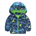 80-120cm Spring and Autumn Children Boys Dinosaur Print Outerwear Child Clothes Hooded Coat Windbreakers Kids Boy Jackets
