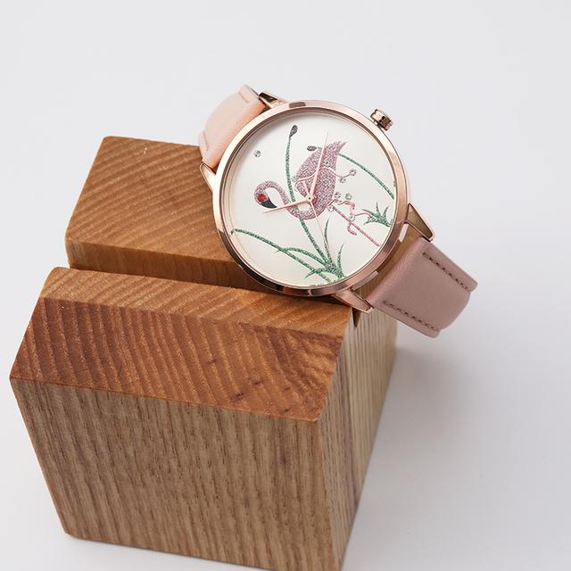 Floral Cloth Band Clock Dial Bracelet Quartz Wristwatch