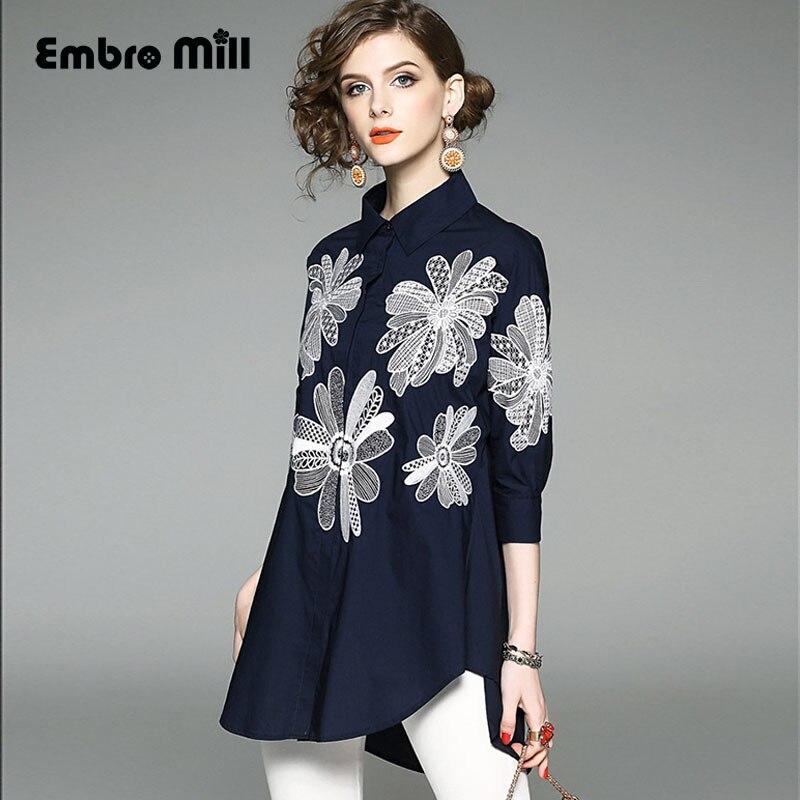 De gama alta bordado real de la vendimia floral de las mujeres blusa de algodón
