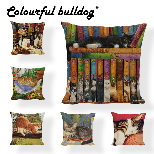 Cuteness Cat View Cushion Cover Bookshelf Shoes Postmark Letters 45Cm45Cm Square Home Study Room