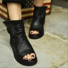 Women's shoes 2017 genuine leather women shoes open toe cool boots handsome buckle flat heels casual boots fashion sandals
