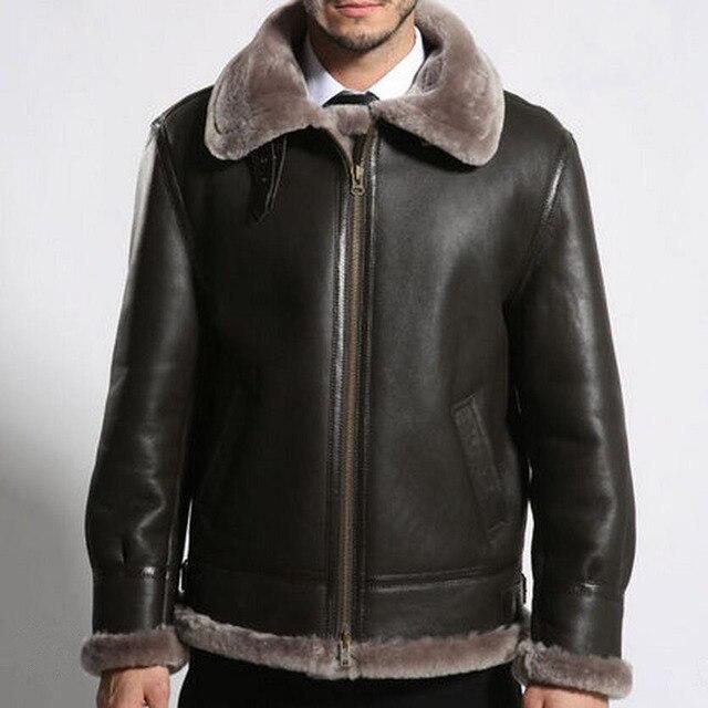 Männer schaffell bomber leder jacke herren winter jacken aus echtem leder  mantel lammfell winter oberbekleidung tops 2699e5b719