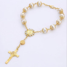 Perle religieuse catholique en croix, bracelet chapelet, pièce maîtresse de pièce, Saint cœur de marie, gua alupe, divinité, jésus