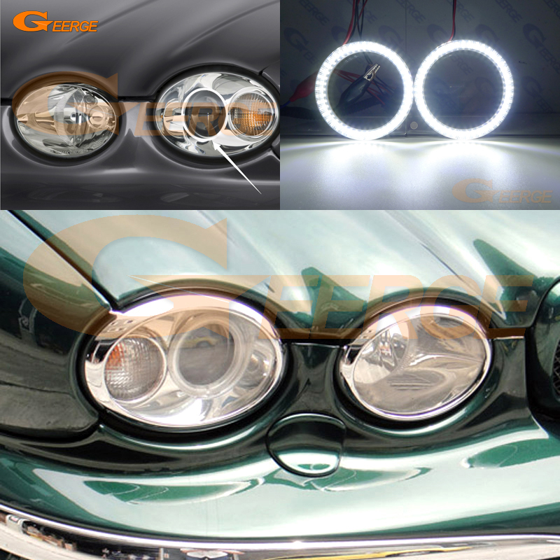 For JAGUAR X-Type 2002-2008 Headlight Smd Led Angel Eyes Kit Day Light Excellent Ultra Bright Illumination DRL