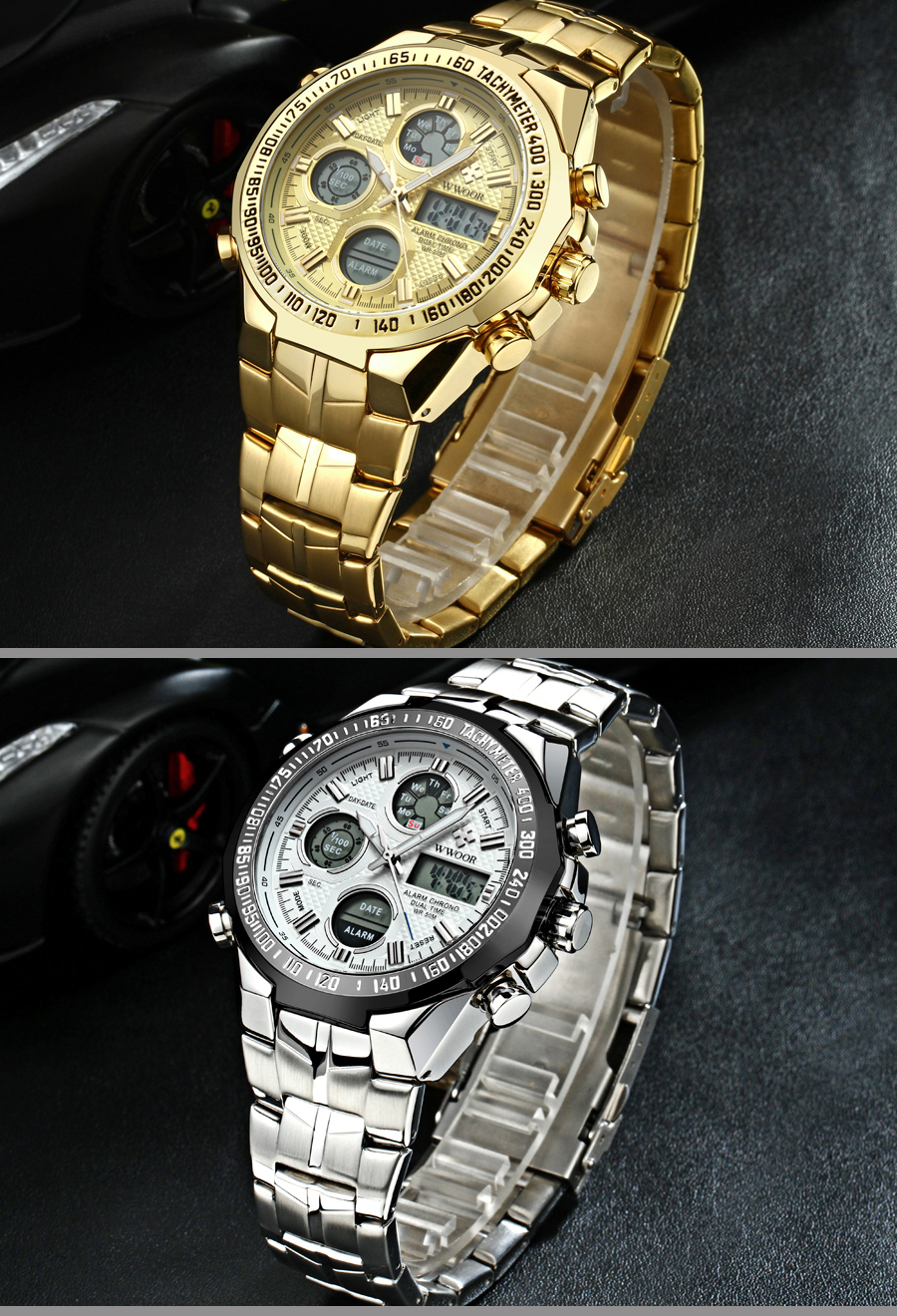 New Relogio masculino Top Luxury Gold Watch Men Big Watches Golden Stainless Steel Military Wristwatch Big Dial Clock Male (8)