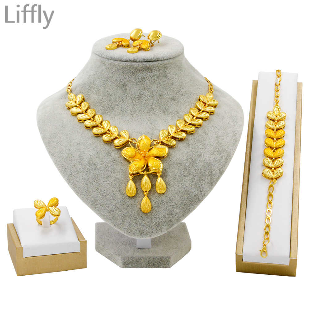 Dubai High Quality Gold Necklace Earrings Jewelry Sets Floral Styling Fashion Woman Jewelry Elegant Bridal Wedding Jewelry