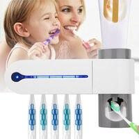 Многофункциональный 3в1 УФ стерилизатор зубных щеток держатель зубной щетки автоматический комплект для зубной пасты диспенсер инструмент...
