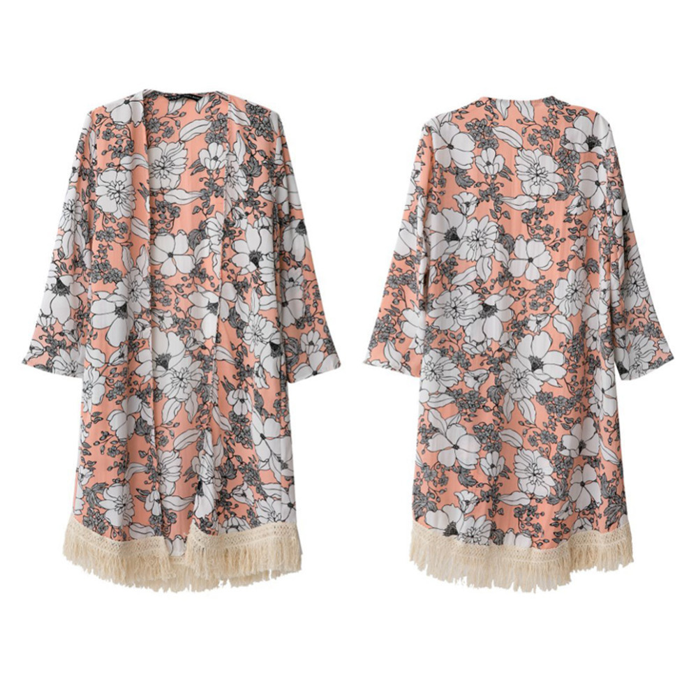 Online Shop Fashion Women Vintage Chiffon Kimono Cardigan Tassels ...