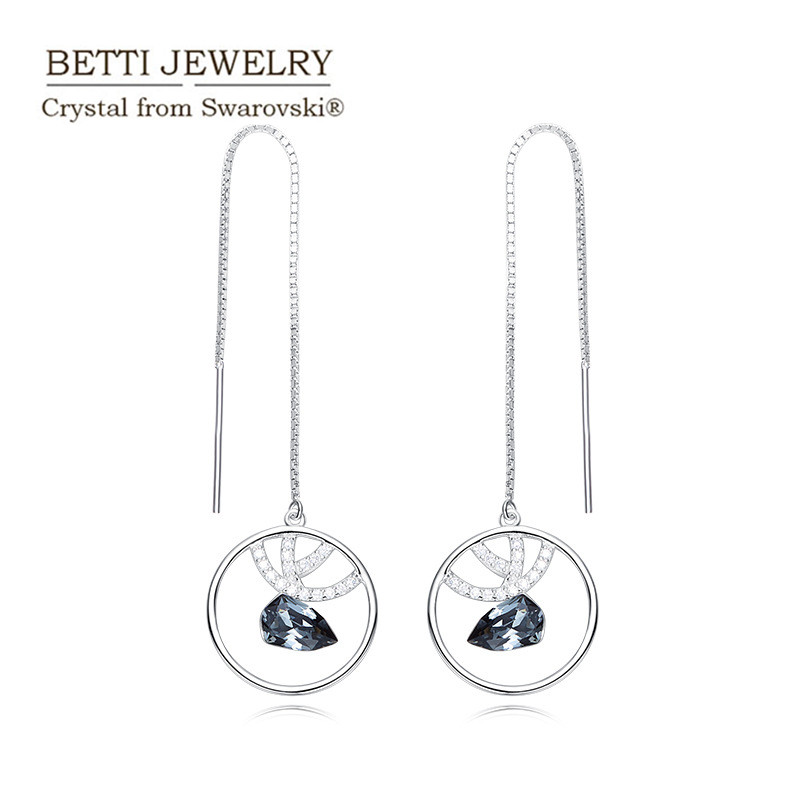 Ms Betti 2018 Spring unique design for lady s925 maxi long earrings with stones crystal from Swarovski for wedding party
