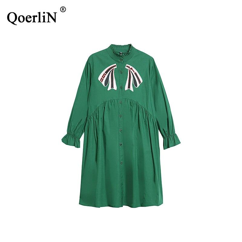 QoerliN Bow Appliques Blouse femmes mode vert robe chemises Vintage Flare manches hauts dames grande taille Vestidos Femininos XXXXL