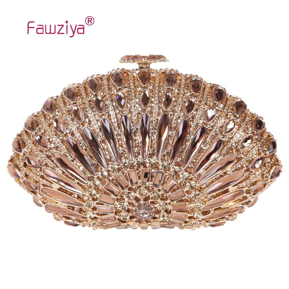 Fawziya Ladies Bags Luxury Seashell-Shaped Prom Clutch Purses Bling Crystal Clutch Evening Bag