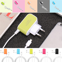 EU Candy Color 3USB Charger 5V 3.1A Intelligent Travel Charger for HTC Android Mobile Phones Charging Port with Micro USB Cable