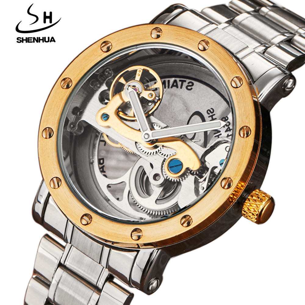 2017 New Automatic Mechanical Watches Men Brand Luxury Golden Case Stainless Steel Skeleton Transparent Watch relogios masculino ks navigator series golden case luxury skeleton transparent case back men gent automatic mechanical stainless steel watch ks207