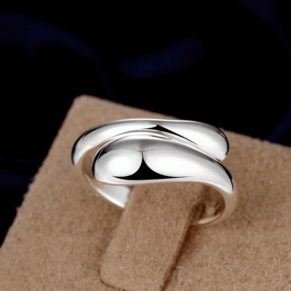 Christmas Gift Wholesale Silver-plated Ring,Silver Fashion Jewelry,Double Round Head Jewelry Waterdrop Women&Men Finger Rings