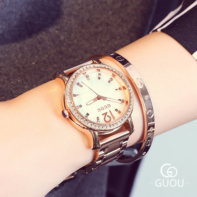 ФОТО GUOU Women's watches hour Brand Diamond Ladies Watch most popular  fashion shells with simple rose Steel time clock Ladies Watch