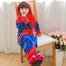 2017 Cute Flannel Autumn And Winter Cartoon animals Vigor Spiderman Unisex Children Pajama 4T-12T Long sleeve Pajama sets