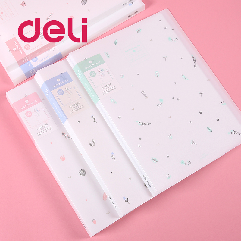 Deli 1pcs Small Fresh A4 Transparent File 30/40/60 Pages Multi-layer Folder Document Insert File Bag Data Books Cover Holder
