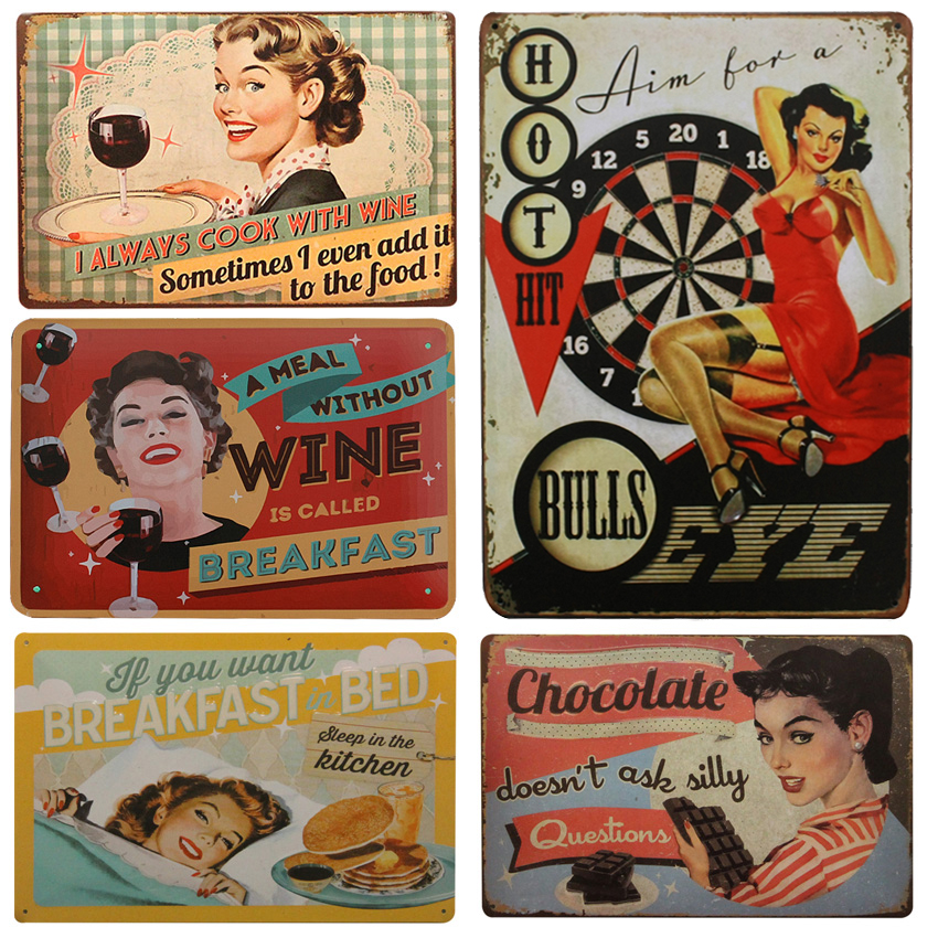 I Always Cook With Wine Vintage Home Decor Tin Sign 8x12 Garage/House Wall Decor Metal Plate Metal Sign Retro Metal Poster