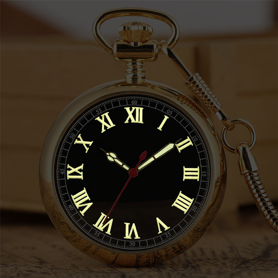 Luminous Roman Numerals Display Mechanical Self Winding Pocket Watch Luxury Golden Steampunk Pocket Pendant Clock New 2019