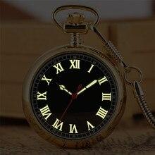 Reloj de bolsillo mecánico con autobobinado, luminoso con numerales romanos, colgante de bolsillo Steampunk dorado de lujo, novedad de 2019