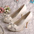 Free/Drop Shipping Wholesale Open toe Satin Bridal Shoes Bridal Beige Women Bow Heels