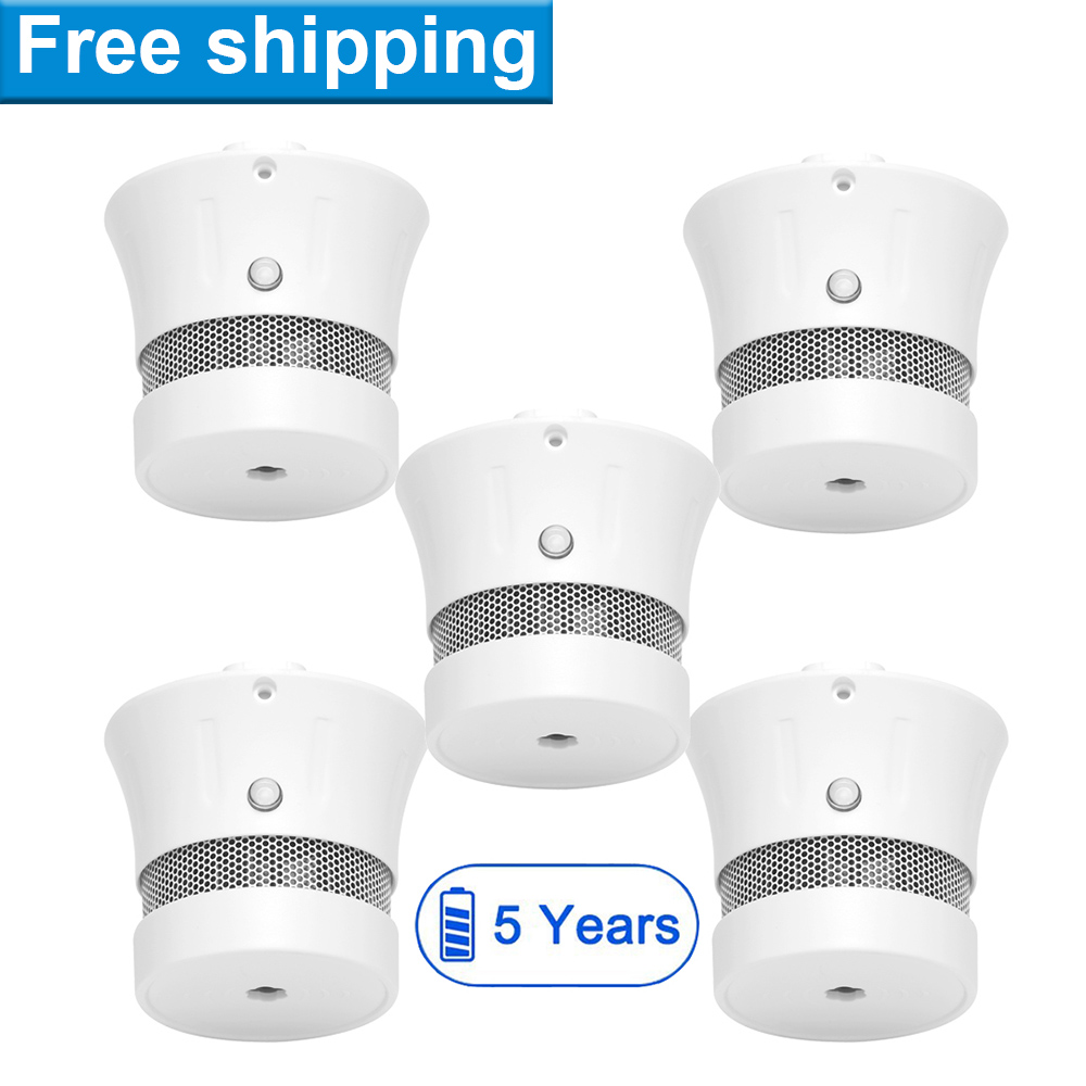 CPVan 5PCS Smoke Detector, EN14604, CE Certified Photoelectric Smoke Sensor Fire Alarm with 5-Year Battery Operated 85dB(China)