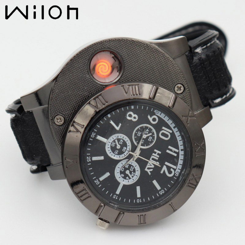 2019 Military Lighter Watches Men Outdoor Sports Quartz Watch USB Charging Wristwatches Hot Flameless Cigarette Lighter F665