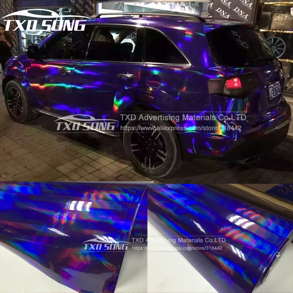 30CMX152CM/LOT holographic Car Vinyl Wrap Cover Film for car body decoration with air free bubbles Car sticker|film for car|covering film|car vinyl wrap - title=