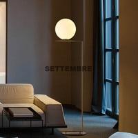 SETTEMBRE Modern Glass Bedroom Floor Lamp Gold Stand Lamp Salon Living Room Nordic Foot Lamp Indoor Room Light Free LED Bulb