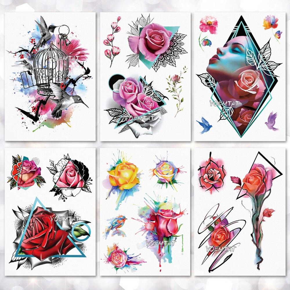 Waterproof Temporary Tattoo Sticker Geometric modern rose flower pattern