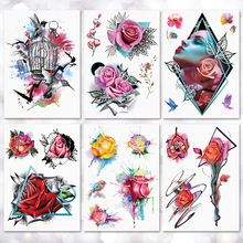 방수 임시 문신 스티커 형상 현대 장미 꽃 패턴 문신 물 전송 바디 아트 가짜 문신